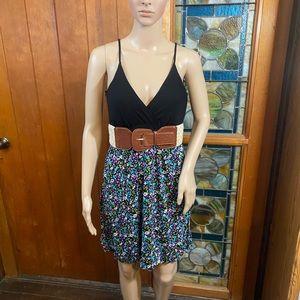 Deb Floral Print Belted Mini Sun Dress